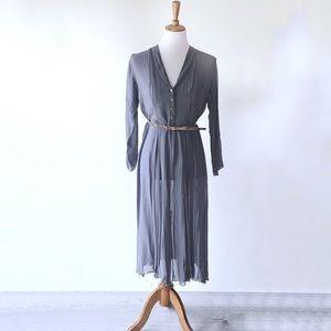 Vintage Semi Sheer Blue Midi/Maxi Dress